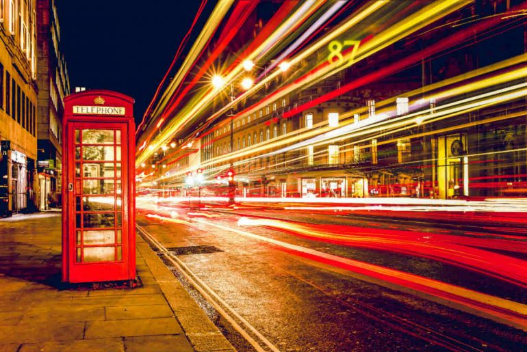 London, England at night