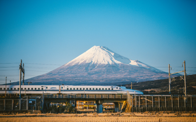 Shinkansen in front of Mount Fuji, Japan
