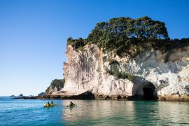 Kayakers on Cathedral Cove at Coromandel Peninsula