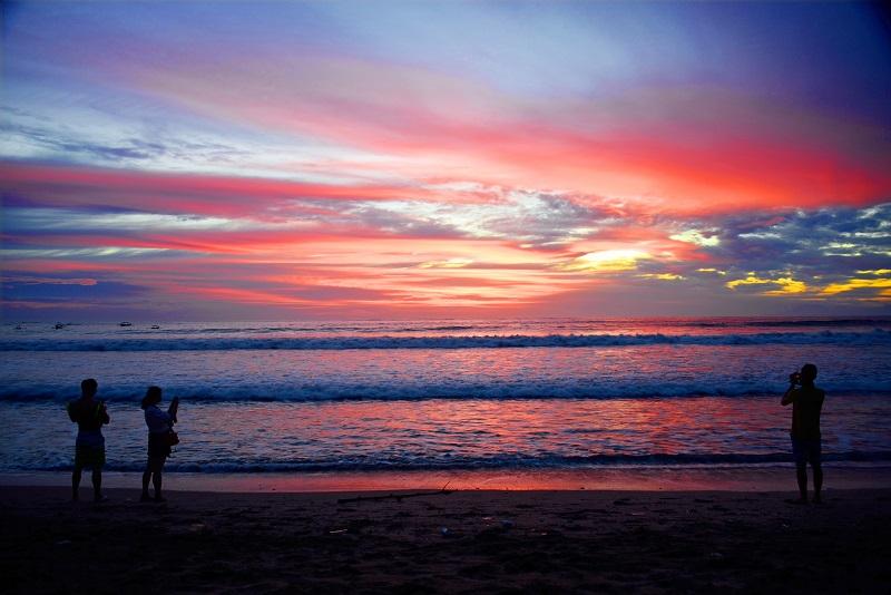 Sunset over Kuta Beach in Bali, Indonesia
