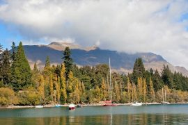 View of Queenstown, on New Zealand's South Island, from the water