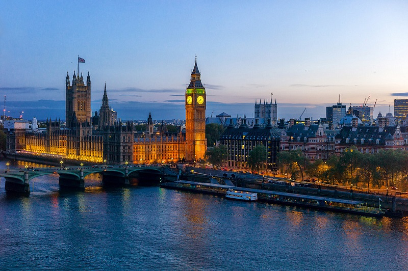 River Thames, Big Ben and Houses of Parliament in London