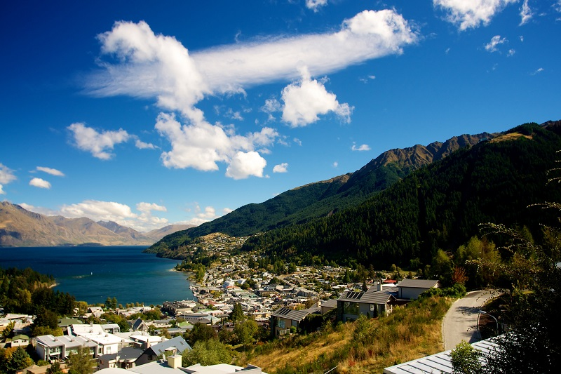 View over Queenstown, Central Otago, New Zealand